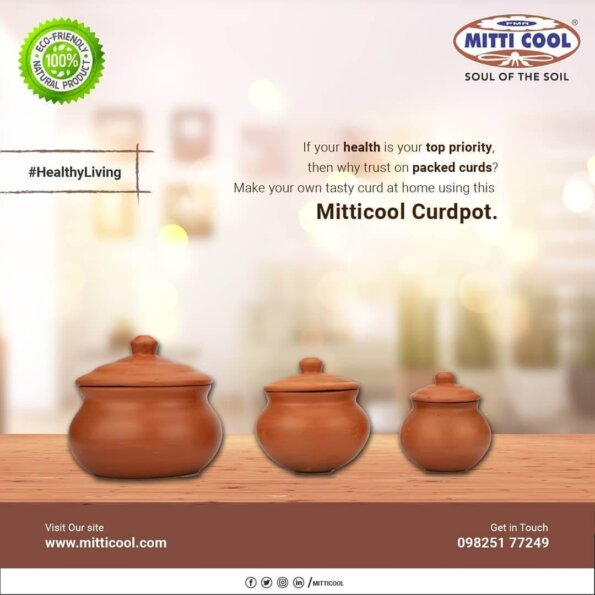Earthen Clay Curd Pot with Cap (650 ml (2)