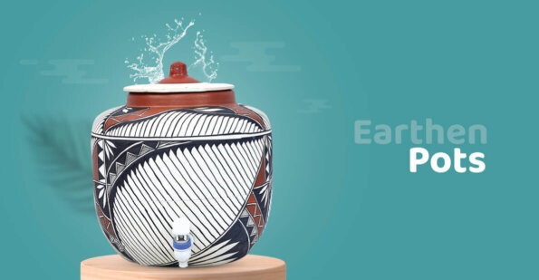 Beautifully painted clay pot with attractive designs